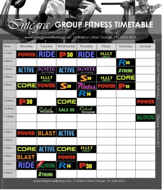 Group Fitness Timetable 2017